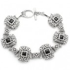 "7-1/2"" Filigree Rectangular Link Bracelet 5sq"