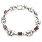 "7-1/2"" Engraved Square Link Bracelet 6sq"