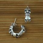 Cuff 3 Skull Silver Earrings