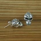 Curl Head Rock Skull Earrings