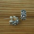 Head On Fire Silver Skull Earrings