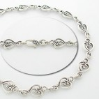 Stylized Heart Openwork Link Necklace