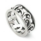 Filigree Scrollwork Wide Silver Ring