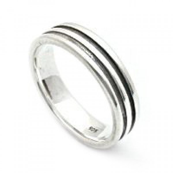 Silver Ring with Double Inscribed Lines