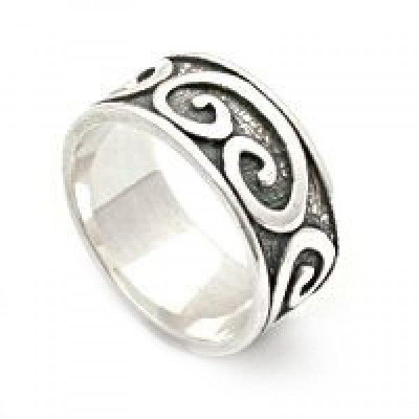 Raised Swirls Silver Band Ring
