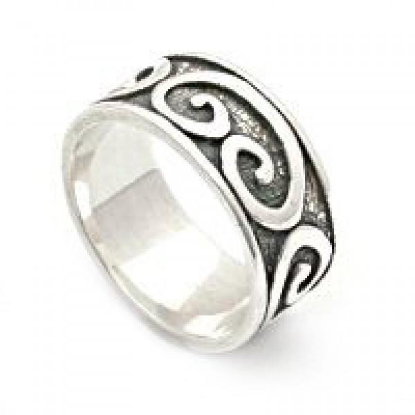 Raised Swirls Silver Band Ring