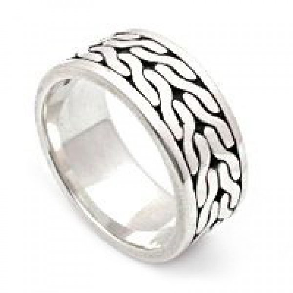 Celtic Braid Wide Band Silver Ring