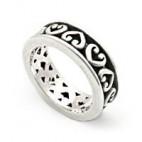 Alternating Hearts Filigree Sterling Ring