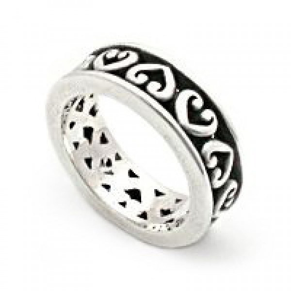 Alternating Hearts Filigree Sterling Ring