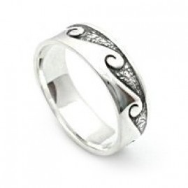 Waves Sterling Silver Band Ring