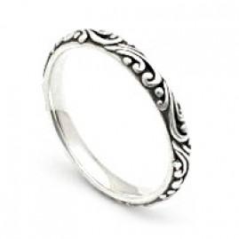 Slender Sterling Silver Swirled Band Ring