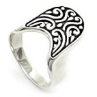 Art Ring with Semi Oval Engraved Face