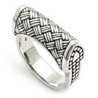 Art Deco Ring with Ornate Woven Silver