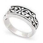 Filigree Band Ring with Curved Face