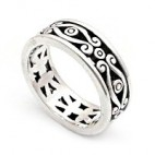 Ornate Swirled Filigree Silver Ring