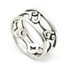 Delicate Openwork Swirled Silver Ring