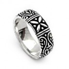 Intricately Carved Sterling Band Ring