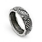 Alternating Wave Striped Silver Band Ring