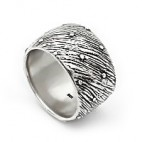 Brushed Look Art Deco Silver Ring