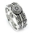 Exotic Art Deco Silver Band Ring