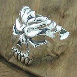 Old Fossil Skull Ring